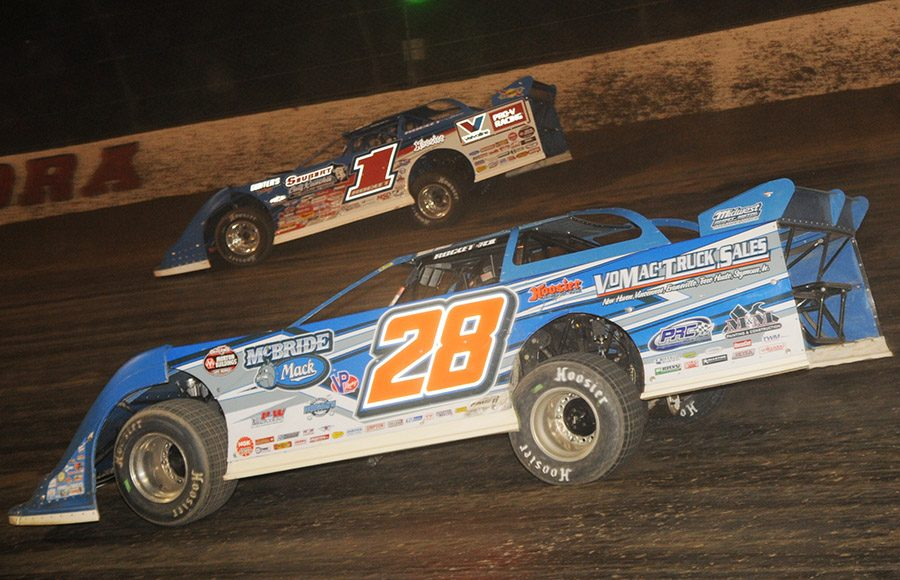 Dennis Erb Jr. (28) battles Brandon Sheppard during Saturday's World 100 finale at Eldora Speedway. (Julia Johnson Photo)