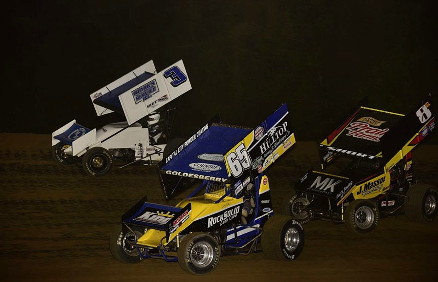 Jordan Goldesberry (65), Ayrton Gennetten (3) and Steve Short battle for position during Saturday's Built Ford Tough MOWA Sprint Car Series feature at Spoon River Speedway. (Mark Funderburk Photo)