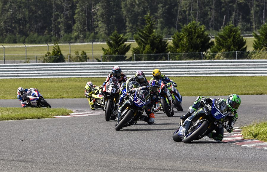 Cameron Beaubier (1) leads the field at the start of Saturday's MotoAmerica Superbike race at New Jersey Motorsports Park. (Dennis Bicksler Photo)