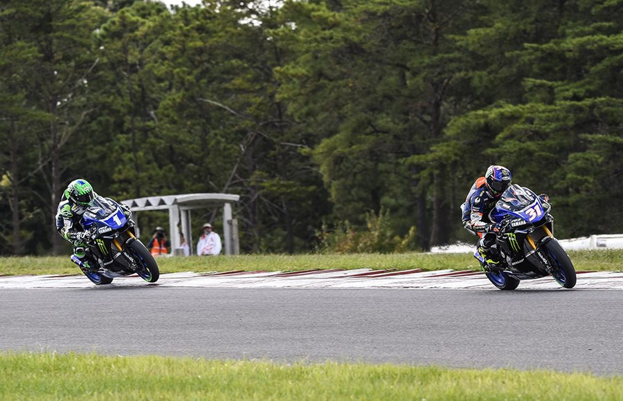 Garrett Gerloff (31) speeds ahead of Cameron Beaubier during Saturday's MotoAmerica Superbike race at New Jersey Motorsports Park. (Dennis Bicksler Photo)
