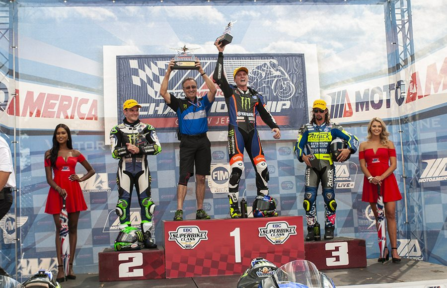 Garrett Gerloff (center) outran Cameron Beaubier (left) and J.D. Beach (right) to win Saturday's MotoAmerica Superbike race at New Jersey Motorsports Park. (Dennis Bicksler Photo)