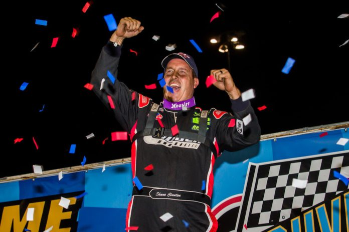 Shane Clanton in victory lane at Knoxville Raceway. (LOLMDS photo)