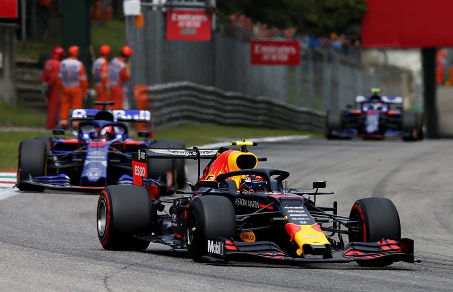 Alexander Albon leads a group of cars during Sunday's Italian Grand Prix. (Red Bull Photo)