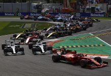 Charles Leclerc (16) leads the field at the start of Sunday's Italian Grand Prix. (Steve Etherington Photo)