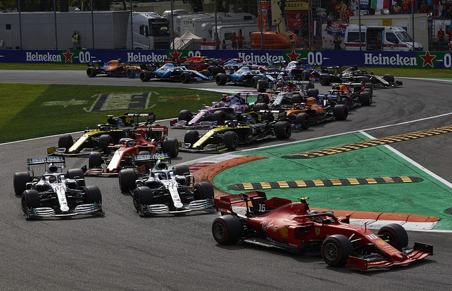 Charles Leclerc (16) leads the field at the start of Sunday's Italian Grand Prix. (Steve Etherington Photo)