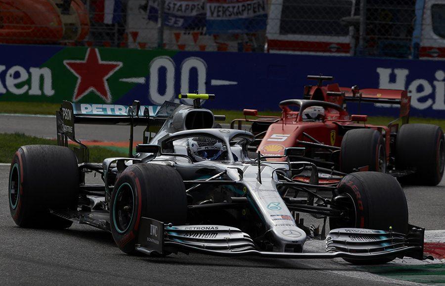 Valtteri Bottas (77) races ahead of Sebastian Vettel during Sunday's Italian Grand Prix. (Steve Etherington Photo)