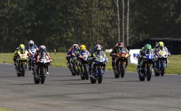MotoAmerica Superbike riders leave the starting line at the beginning of Sunday's race at New Jersey Motorsports Park. (Dennis Bicksler Photo)