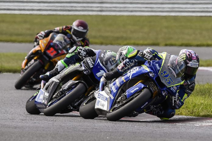 J.D. Beach (95) battles Cameron Beaubier (1) and Mathew Scholtz during Sunday's MotoAmerica Superbike race at New Jersey Motorsports Park. (Dennis Bicksler Photo)