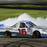 Austin Hill celebrates with a burnout after winning Friday's NASCAR Gander Outdoors Truck Series race at Las Vegas Motor Speedway. (Toyota Photo)