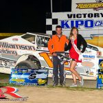 Chad Chevalier in victory lane Friday night at Ransomville Speedway. (Tom Stevens Photo)