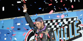 Ricky Weiss in victory lane Friday night at Knoxville Raceway. (Ken Berry Photo)