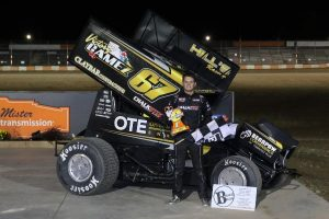 Parker Price-Miller was one of three sprint car winners on the Night Before the Nationals at Ohsweken Speedway. (Dale Calnan Photo)