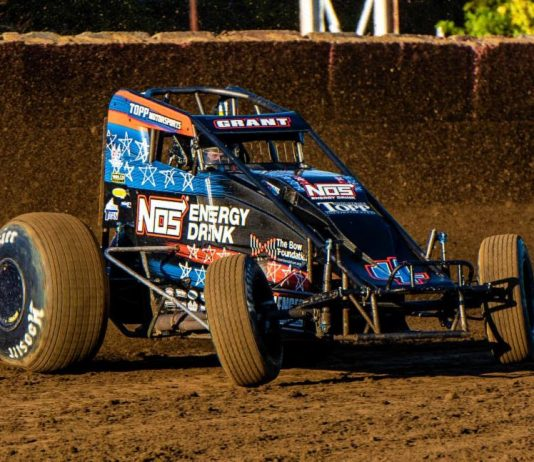 Justin Grant drives to victory at the Terre Haute Action Track. (Ryan Sellers photo)