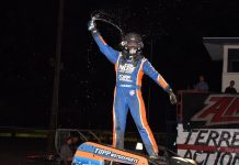 Justin Grant in victory lane. (David Nearpass photo)
