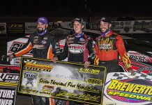 Mat Williamson (center) shares the podium with Chris Hile and Larry Wight. (DIRTcar photo)