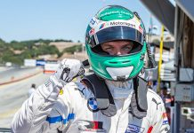 Jesse Krohn put the No. 24 BMW M8 GTE on the pole for the GT Le Mans division at WeatherTech Raceway Laguna Seca on Saturday. (Sarah Weeks Photo)
