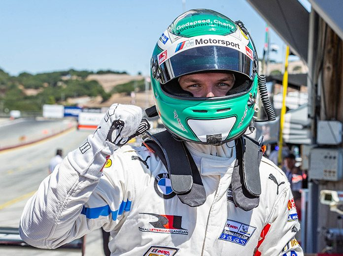Jesse Krohn put the No. 24 BMW M8 GTE on the pole for the GT Le Mans division at WeatherTech Raceway Laguna Seca on Saturday. (Sarah Weeks Photo)