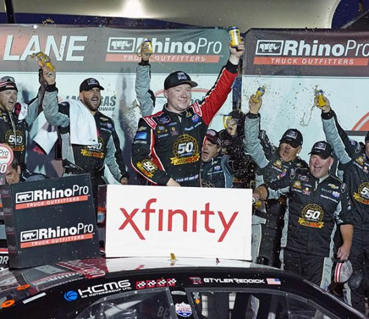 Tyler Reddick celebrates after winning Saturday's NASCAR Xfinity Series race at Las Vegas Motor Speedway. (Dave Moulthrop Photo)