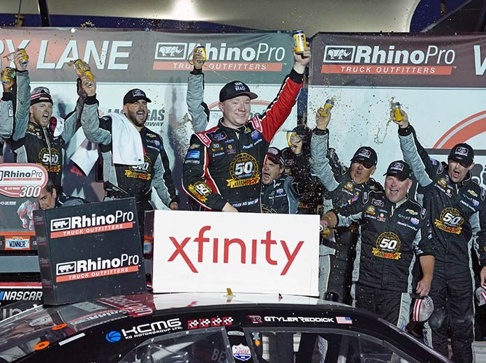 Tyler Reddick celebrates after winning Saturday's NASCAR Xfinity Series race at Las Vegas Motor Speedway. (Dave Moulthrop Photo)