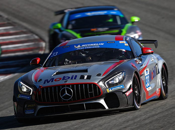 Russell Ward and Dominik Baumann drove the No. 33 Winward Racing Motorsport Mercedes-AMG entry to victory in Saturday's IMSA Michelin Pilot Challenge race at WeatherTech Raceway Laguna Seca. (IMSA Photo)