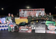 Chuck Hossfeld in victory lane Saturday at Lancaster Speedway @ New York International Raceway Park. (Alex & Helen Bruce Photo)