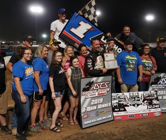 Tim Crawley in victory lane at I-30 Speedway. (ASCS photo)