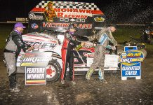 Mat Williamson (center) celebrates with Billy Dunn and Matt Sheppard. (DIRTcar photo)