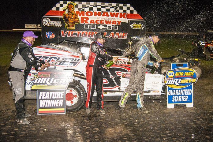 Mat Williamson (center) celebrates with Billy Dunn and Matt Sheppard. (DIRTcar photo)
