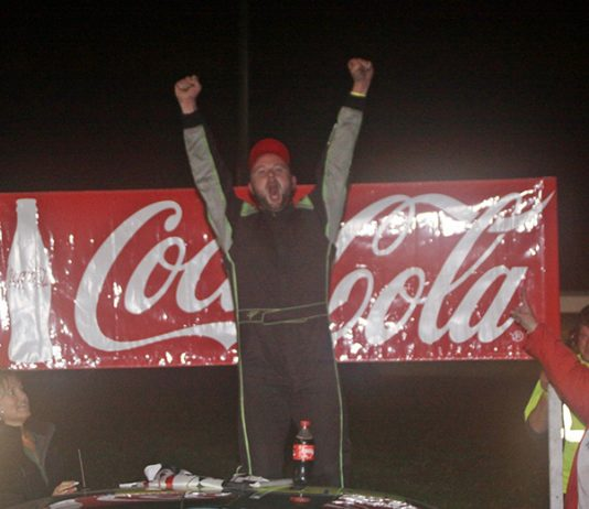 Rich Dubeau celebrates after winning the Labor Day Classic Saturday at Thunder Road Int'l Speedbowl. (Alan Ward Photo)