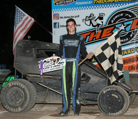 Chase McDermand in victory lane Saturday night at Beaver Dam Raceway.