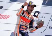 Marc Marquez celebrates after winning Sunday at Misano World Circuit Marco Simoncelli. (Honda Photo)