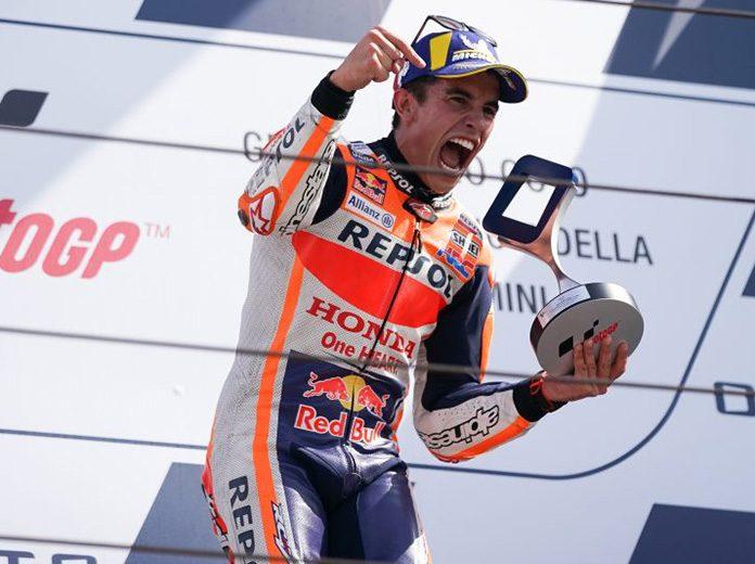 Marc Marquez celebrates after winning Sunday at Misano World Circuit Marco Simoncelli. (Honda Photo)
