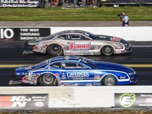 Jason Line (far lane) beat Fernando Cuadra in the Pro Stock class. (Dennis Bicksler Photo)