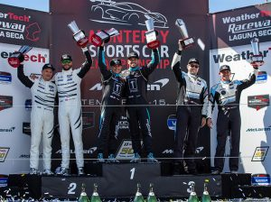 Paul Miller Racing's Cory Lewis and Bryan Sellers were winners in GT Daytona Sunday at WeatherTech Raceway Laguna Seca. (Sarah Weeks Photo)