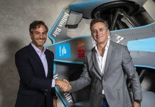 New Formula E CEO Jamie Reigle (left) shakes hands with Formula E Chairman Alejandro Agag. (Formula E Photo)