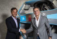 New Formula E CEO Jamie Reigle (left) shakes hands with Formula E Chairman Alejandro Agag. (Formula E Photo)