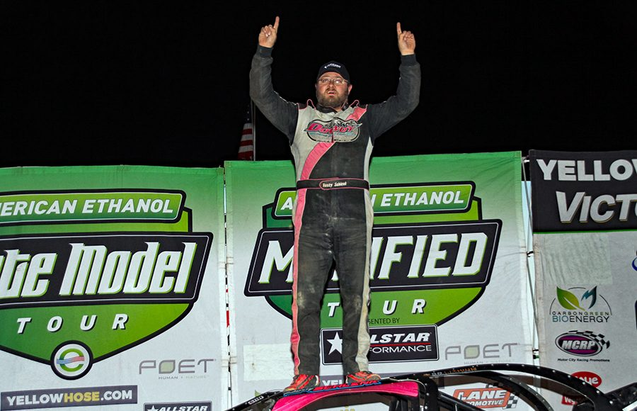 Rusty Schlenk celebrates after winning the American Ethanol Late Model Tour Fall Special at Hartford Speedway on Saturday night. (Jim Denhamer Photo)