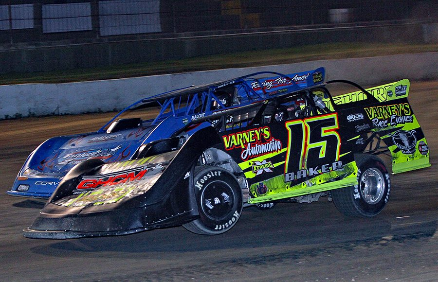 Dave Baker (15) battles Travis Stemler during Saturday's American Ethanol Late Model Tour Fall Special at Hartford Speedway. (Jim Denhamer Photo)