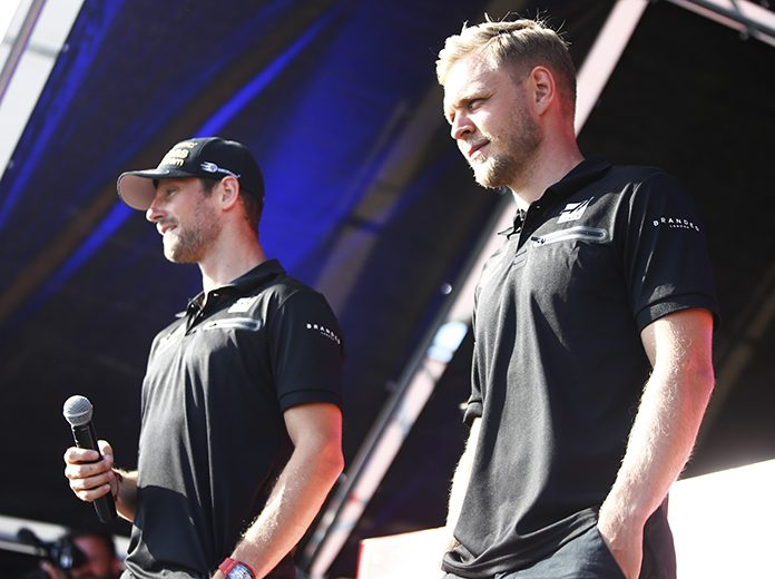The Haas F1 Team has retained drivers Romain Grosjean (left) and Kevin Magnussen for 2020. (Haas F1 Photo)