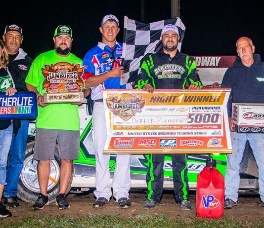 Dereck Ramirez in victory lane at Deer Creek Speedway. (USMTS photo)