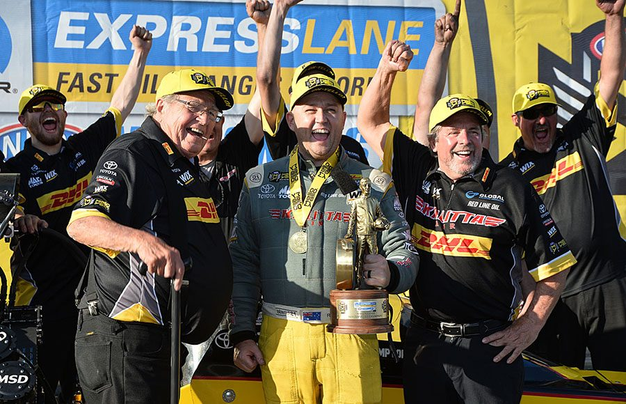 Richie Crampton captured the Top Fuel portion of the Mopar Express Lane NHRA Nationals at Maple Grove Raceway. (Harry Cella Photo)