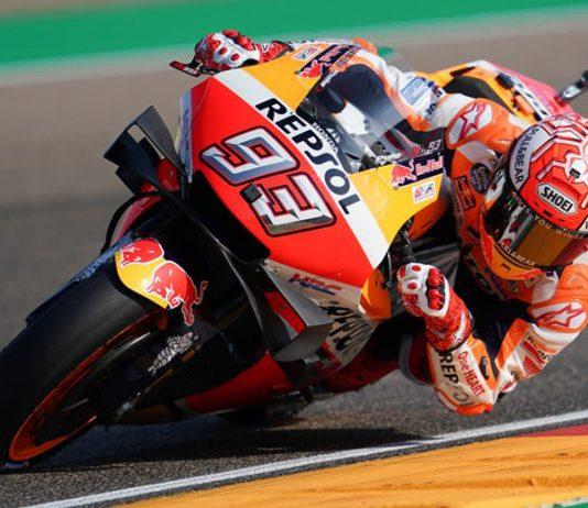 Marc Marquez easily led MotoGP practice Friday at Motorland Aragon. (Honda Photo)