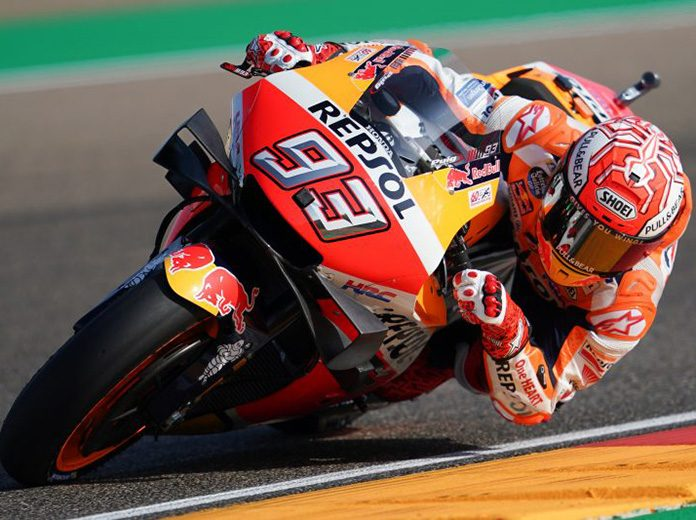 Marc Marquez easily led MotoGP practice Friday at Motorland Aragon. (Honda Photo)