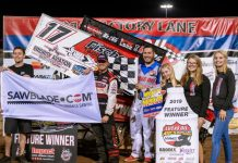 Josh Baughman in victory lane at Lucas Oil Speedway. (Kenny Shaw photo)