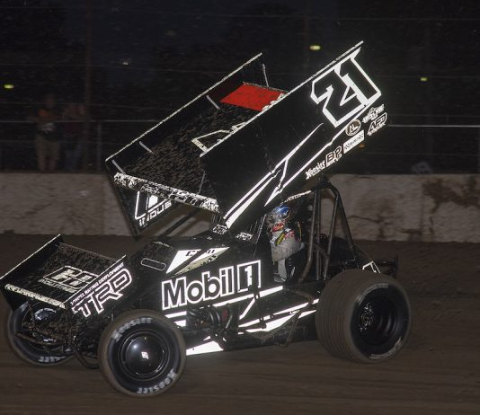 Christopher Bell en route to victory at Fremont Speedway. (Mike Campbell photo)