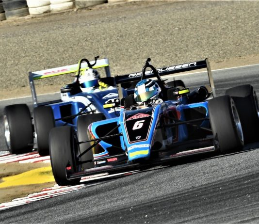 Christian Rasmussen won Saturday's USF2000 race at WeatherTech Raceway Laguna Seca. (Al Steinberg photo)