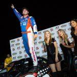 Jeremy Doss celebrates after winning Saturday's Nut Up Pro Late Model feature at Madera Speedway. (Jason Wedehase Photo)
