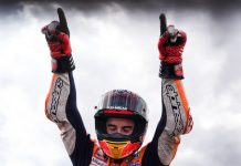 Marc Marquez celebrates after winning Sunday's MotoGP event in Spain. (Honda Photo)