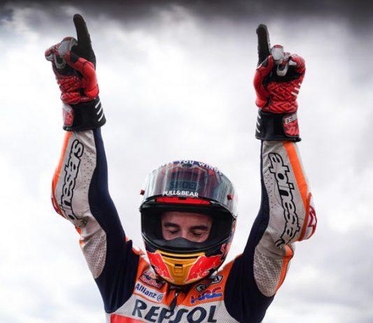 Marc Marquez celebrates after winning Sunday's MotoGP event in Spain. (Honda Photo)