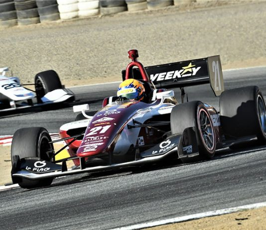 Rinus VeeKay raced to his second-straight Indy Lights win Sunday at WeatherTech Raceway Laguna Seca. (Al Steinberg Photo)